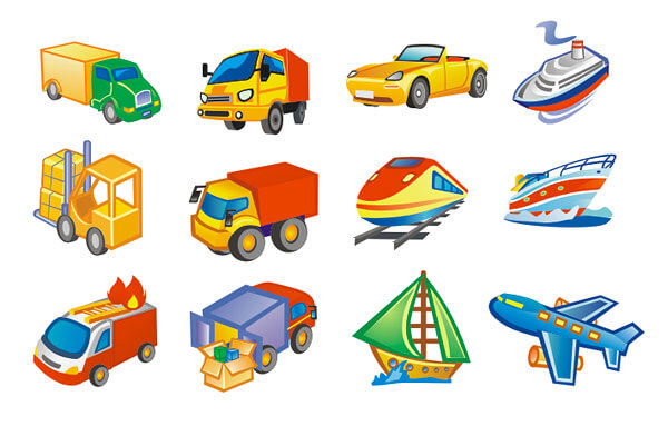 Lovely-style-transport-icon-vector-material2